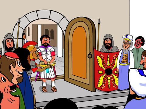 Pilate dared not do anything but sentence Jesus to be crucified. But to show that he did not want to responsible for the decision, he washed his hands. The people were agreed that they were happy to be responsible for this very unfair decision. – Slide 15