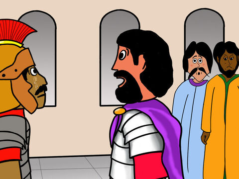 That evening Nicodemus and Joseph from Arimathea went to Pilate and asked if they could bury Jesus' dead body. <br/>Pilate was surprised that Jesus was already dead and called an officer who told him everything that had happened. – Slide 36