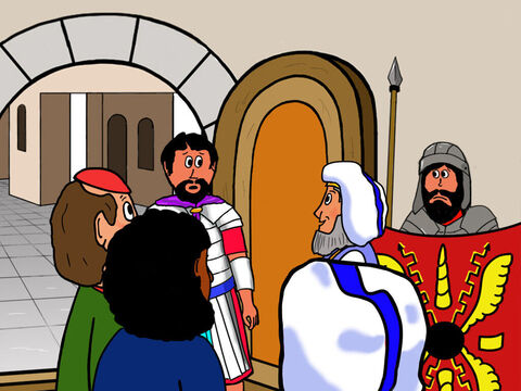 They quickly ran to Pilate and asked if soldiers could guard the tomb. Pilate decided that some of his soldiers would guard it. – Slide 2