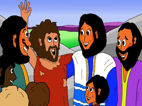 One day Jesus came to visit Jericho. On the way into the city, a poor, blind beggar named Bartimaeus cried out to Jesus. Jesus heard him and healed him.  Bartimaeus could now see! – Slide 11