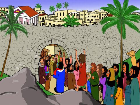 Bartimaeus was so happy to be able to see and followed Jesus into the city praising God for what He had done. – Slide 12