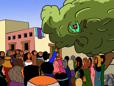 What do you want from me Jesus,' Zacchaeus asked.<br/>'Today I want to come to your house, Zacchaeus!' Jesus answered. <br/>'Oh,' Zacchaeus  exclaimed, 'You want to come to my house? He started climbing down the tree. – Slide 27