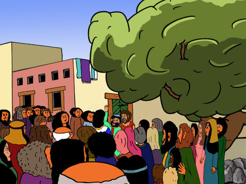 'You are welcome to come to my home,' Zacchaeus replied. 'And so are your disciples!' – Slide 29