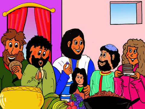 Zacchaeus and his wife put on a meal for Jesus and all 12 disciples. Jesus spent time talking with  Zacchaeus. – Slide 32