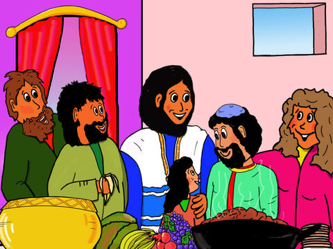 Jesus announced, 'Today salvation has come to this house! I have come to seek out and save those who are lost.' <br/>Everyone was very happy that Zacchaeus had turned away from cheating and stealing to obey God. – Slide 34