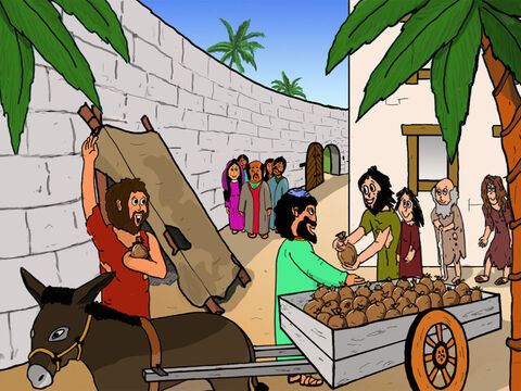 Zacchaeus then did as he had said! He took half of everything he owned and distributed it to the poor in Jericho. The poor were surprised and very happy. Everyone understood that Zacchaeus had been completely transformed by Jesus. – Slide 35