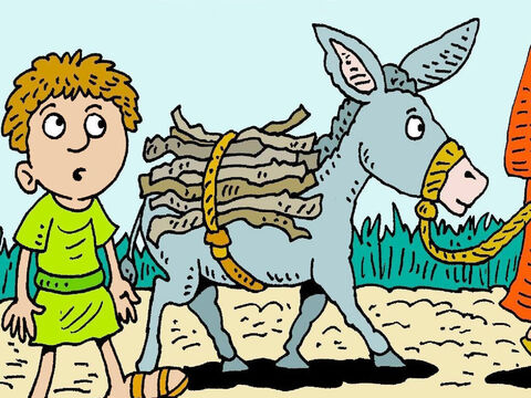 Early the next morning Abraham put some wood for a fire on his donkey and went to the mountain with Isaac. It would be hard to give Isaac to God. – Slide 4