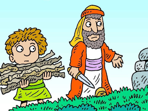Isaac helped get the wood for the fire. 'Where is the lamb to give to God?' he asked. Abraham said, 'God will give us a lamb.' – Slide 5