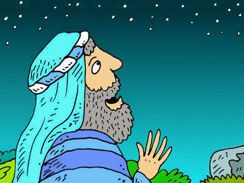 A long time ago, God made a special promise to Abram. 'Look at all the stars. There are too many to count. – Slide 1