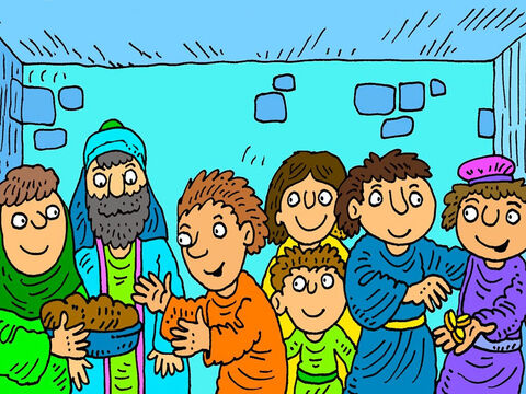In the first Christian church everyone shared everything, so that no-one was poor or hungry. They sold what they had and brought the money to Peter and the disciples. – Slide 2
