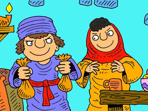 Ananias and Sapphira decided that they would secretly keep half the money they had made from a sale, for themselves and only give some of the money to the disciples to share. – Slide 3