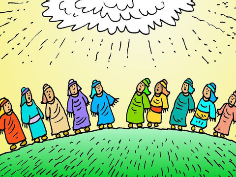 The disciples were so surprised and stood looking up into the sky. They had seen Jesus go up into heaven with their very own eyes! – Slide 6