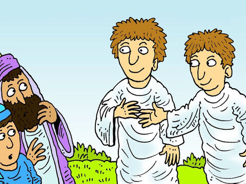 Then two angels appeared and said, 'One day Jesus will come back again exactly the same way you have just seen Him go up to heaven.' – Slide 7