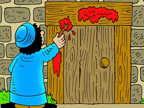 On Passover night, the blood of a lamb was painted above the door. The children of Israel were safe when the Angel of God passed over the house. Exodus 12. – Slide 5