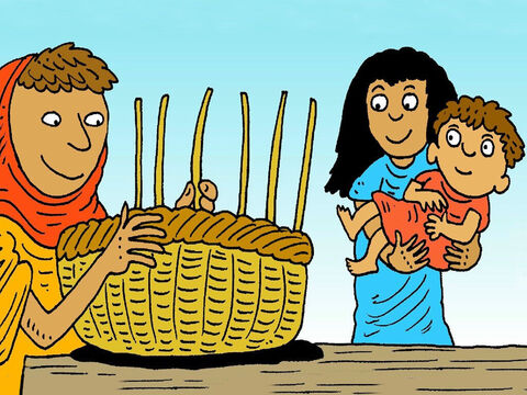 Soon their baby was too big to hide. His mother made a special little bed, in a basket, to float the baby down the river Nile, to a safe place. 'God will look after him,' she said. – Slide 3