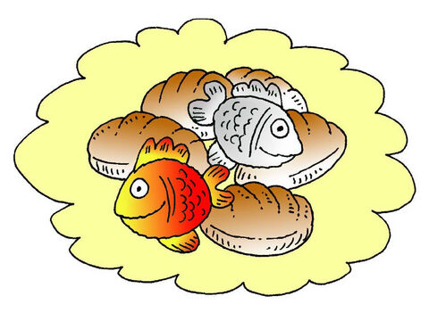 This story is found in the Bible and is about a packed lunch of five loaves and two fish. – Slide 1