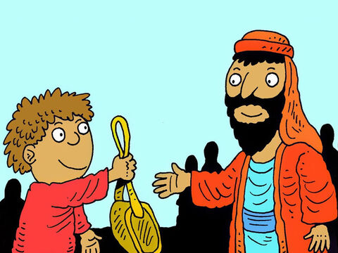 The boy gave his lunch to Jesus to share. Just 2 little fish and 5 bread rolls. – Slide 6