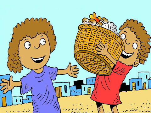 The boy ran home to tell his mother about giving his lunch to Jesus. 'And there were heaps left over! That's a miracle! Look!' – Slide 9