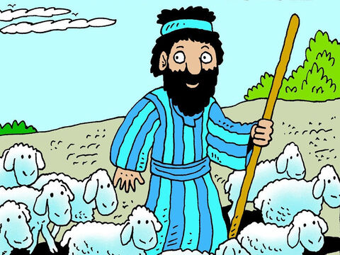 One ordinary day Moses was out in the field looking after a flock of sheep belonging to his father-in-law, Jethro – Slide 2