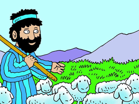 Moses led the flock through the desert to Mount Horeb, where there was plenty of good grass for the sheep to eat. – Slide 3