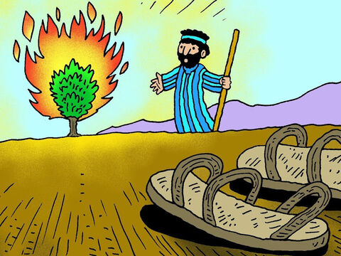 God said, 'Take off your shoes! You are standing on Holy ground.' So Moses took off his shoes and went closer to look at the burning bush. – Slide 6