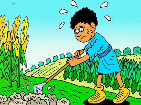Cain loved to grow vegetables, but it was hard work digging in the hot sun and weeding the garden. – Slide 3