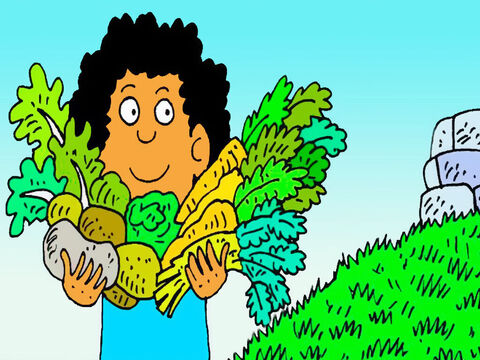 He brought the first of all the vegetables from his garden, as a gift to God. 'I will show God what I can do,' he thought. – Slide 4