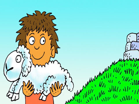 Abel looked after the sheep. He brought his best little lamb to give to God. 'Thank you God for everything you give to me,' he prayed. – Slide 5