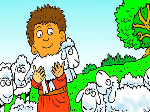 Adam and Eve had two boys. Abel, the younger brother, loved his sheep. He took a lamb to give to God. – Slide 2