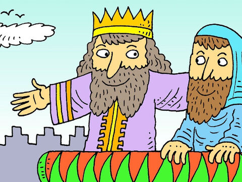 The King saw that Daniel worked hard and always did what was good and right. The King made Daniel the boss. But the King's other helpers wanted to be boss instead. – Slide 3