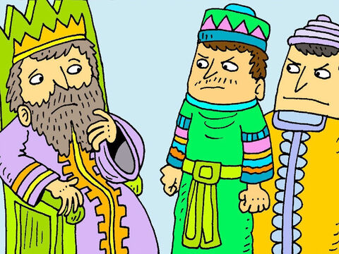 Daniel had broken the King's rules. The King was very sad. He knew he had been tricked. 'Daniel's God will look after him,' said the King. – Slide 6