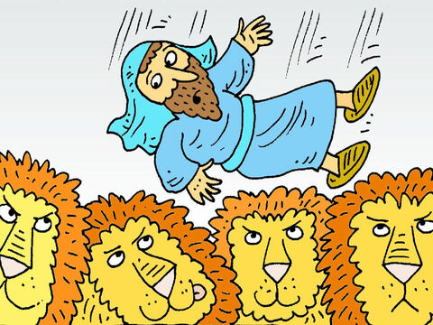 Daniel was thrown into the lions' den. He was not afraid. He just prayed to God. The King could not sleep. He was so sad. In the morning he looked in the lions' den. – Slide 7