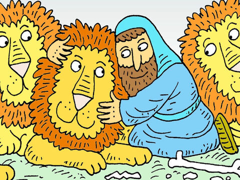 The King saw that Daniel was safe! God's angel had shut the lions' mouths. The King then made a new rule. Everyone must love God and pray only to Him. – Slide 8