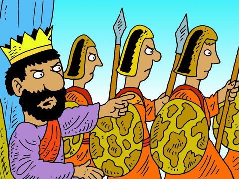 King Saul was jealous of David. One day he heard where David was hiding, so he took three thousand soldiers and went to catch him. – Slide 2