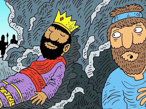 But King Saul was very tired and went into the same cave to rest, while his soldiers stood guard outside. David kept very quiet. <br/>When King Saul was fast asleep, David's men whispered, 'Here is your chance! Kill your enemy, before he hurts you!' – Slide 5