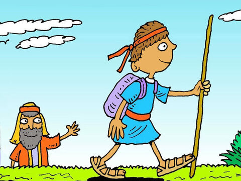 One day David had to leave his sheep. He was going to see his brothers.They were soldiers in the King's army and he was taking food to them. – Slide 1