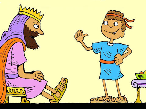 David went to see the king. 'I will fight Goliath,' he said. 'God helped me to fight a hungry lion and a hungry bear. God will help me to win.' – Slide 3