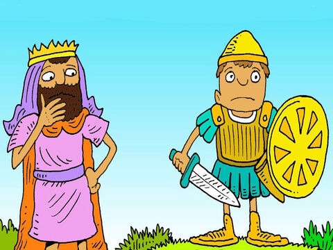 The king wanted David to wear his armour, but it was too big! 'I can't wear this,' he said, 'I only know how to throw stones in my sling.' – Slide 4