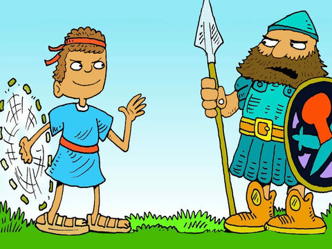 Goliath did not want to fight a young boy! David found 5 round stones. He prayed and asked God to help him to be brave, then twirled his sling around over his head. – Slide 5