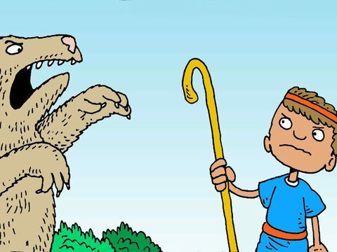 One day David saw a hungry bear. David asked God to help him to be brave. He tried to scare the bear. – Slide 6