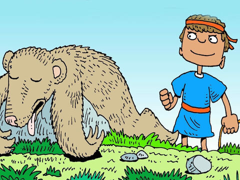 Then he put a stone in his sling, whirled it round and round and let the stone fly. The bear fell down Crash! – Slide 7