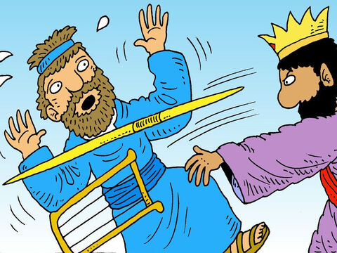 King Saul got so angry that he tried to kill David. But God saved David from King Saul.  David knew that it was God who saved him from his enemies and helped him to be brave. – Slide 4