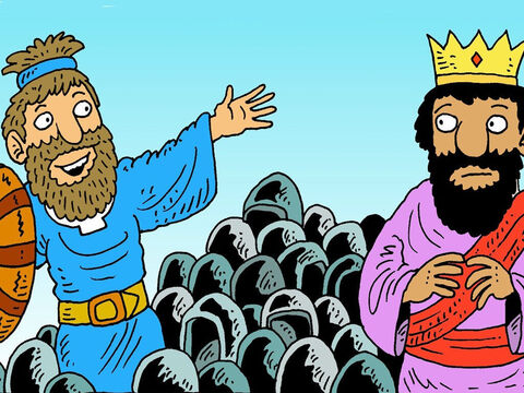 But God helped David and his soldiers, beat the bigger, stronger army. He went back to tell King Saul how brave his soldiers had been. – Slide 7