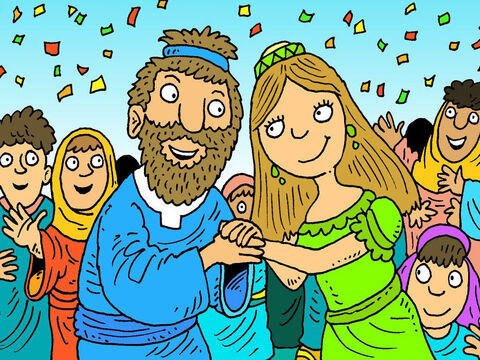 The king had to keep his promise. Everyone celebrated when their hero, David, married Michal, the King's daughter. David thanked God for helping him. – Slide 8