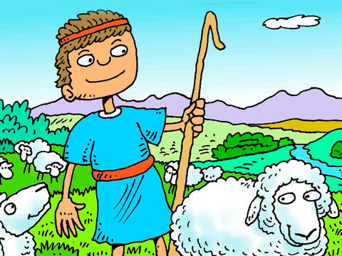 David looked after his father's sheep. They liked to eat green grass and drink fresh water and when he called to them they followed him. – Slide 2