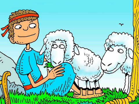 He sat down under a shady tree to watch his sheep. He loved to pray and sing to God and he loved God with all his heart. God was with David. – Slide 3
