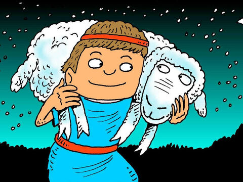 Sometimes he had to find a lost sheep or carry a sick lamb. David was a good shepherd. He loved his sheep and they loved him. – Slide 5