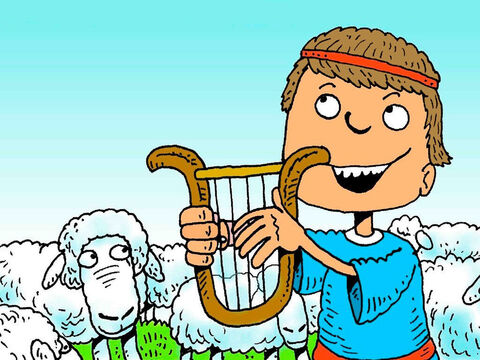 While watching over the sheep David would play his harp and sing songs of praise to God. Many of David's songs are found in the Bible and are called psalms. – Slide 8