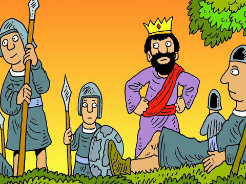King Saul was jealous of David and wanted to get rid of him. All day he searched, but he couldn't find him, because God kept David safe. – Slide 2
