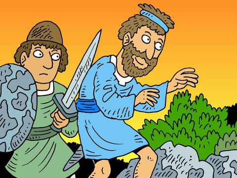 That night, when everyone was asleep, David and his friend Abishai came creeping, very quietly, closer and closer to King Saul. – Slide 3